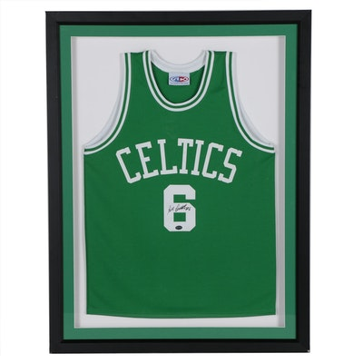 Bill Russell Signed Boston Celtics NBA Jersey in Shadow Box Frame, PSA/DNA COA