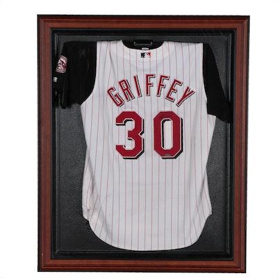 Ken Griffey Jr. Signed Cincinnati Reds Baseball Jersey in Shadow Box Frame, UD