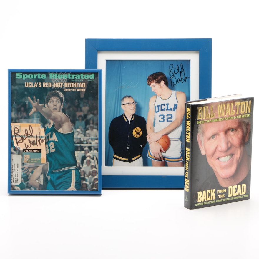 """Bill Walton Signed Items with """"Back From The Dead"""" Book"""