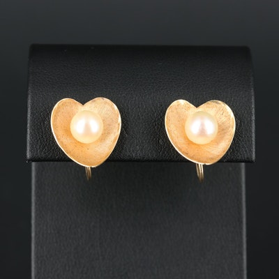 14K Yellow Gold Cultured Pearl Earrings