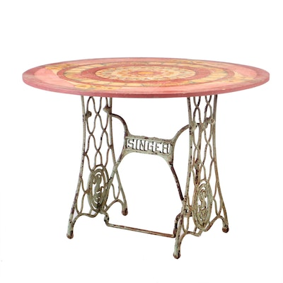 Painted Round Table Top with Wrought Iron Singer Sewing Machine Base