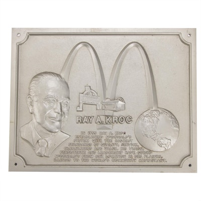 McDonald's Ray A. Kroc Embossed Metal Wall Plaque, circa 1983