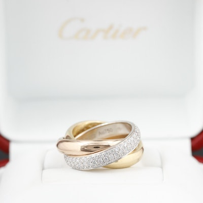 "Cartier ""Classic Trinity"" 18K Tri-Color Ring with Pavé 1.42 CTW Diamonds"