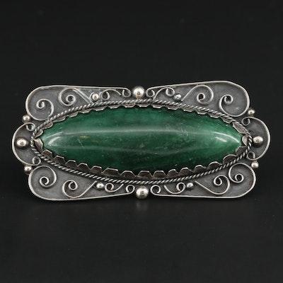Sterling Silver Green Quartz Brooch