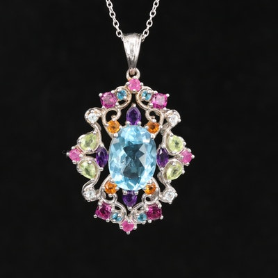 Sterling Silver Blue Topaz, Peridot and Gemstone Pendant Necklace
