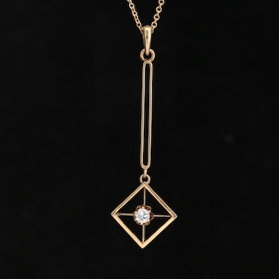 Art Deco 14K Yellow Gold Diamond Pendant on 10K Cable Chain Necklace