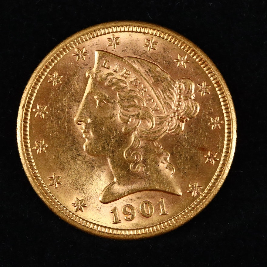1901 Liberty Head $5 Gold Coin