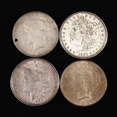 Two Silver Peace Dollars and Two Silver Morgan Dollars