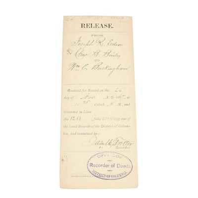 1887 Land Indenture Signed by James M. Trotter