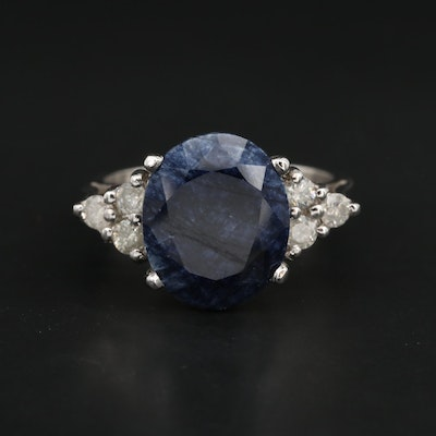 14K White Gold 6.70 CT Sapphire and Diamond Ring