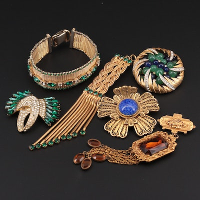 Vintage Assorted Jewelry Featuring Brooches and Bracelet by Blythe + Blythe