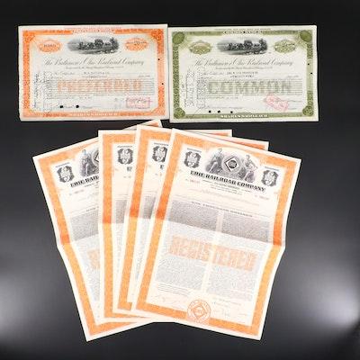 Six American Railroad Stock and Bond Certificates