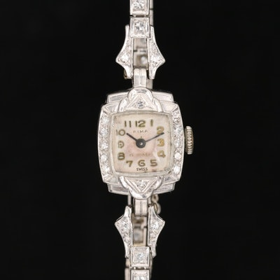 Vintage Rima Platinum 1.11 CTW Diamond Stem Wind Wristwatch