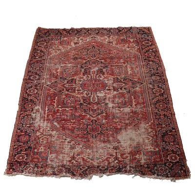 10'10 x 11'5 Hand-Knotted Indo-Persian Heriz Rug, Mid-20th Century