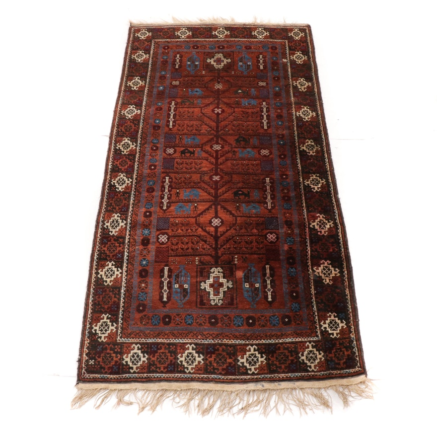3'6 x 7'7 Hand-Woven Persian Balouch Rug, 1970s