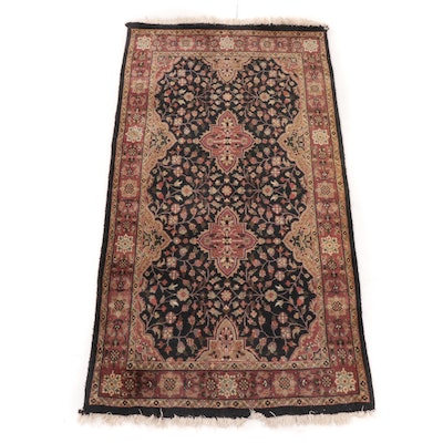 2'10 x 5'5 Hand-Woven Indo-Persian Tabriz Accent Rug, 1990s