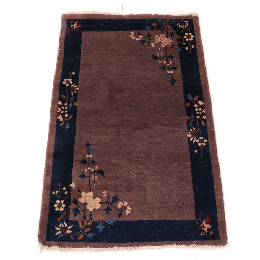 3' x 4'11 Hand-Woven Antique Chinese Art Deco Accent Rug, 1930s