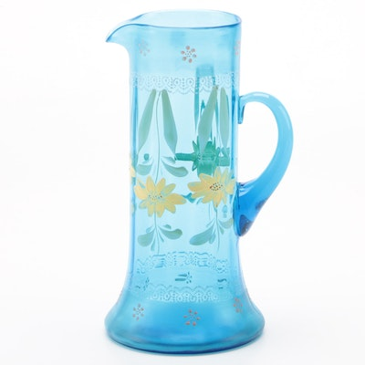 Blue Glass Pitcher with Hand-Painted Daisies, Vintage