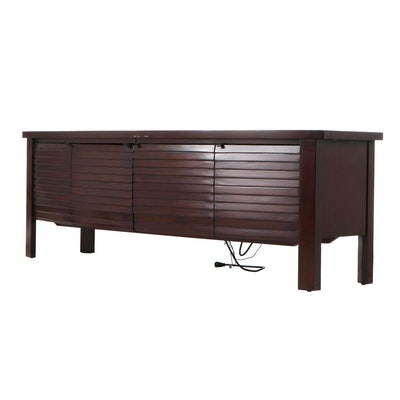 Sligh Furniture Louvered Mahogany Finished Media Cabinet, Contemporary