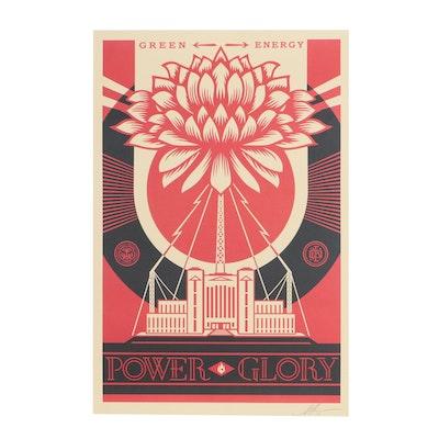 """Shepard Fairey Offset Print """"Green Power"""""""