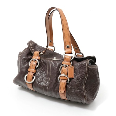 Coach Chelsea Turnlock Brown Pebbled Leather Two-Tone Handbag