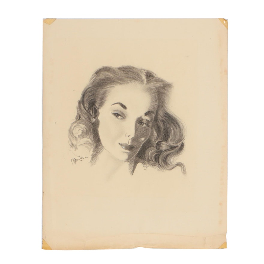 Charcoal Portrait of Woman, circa 1946