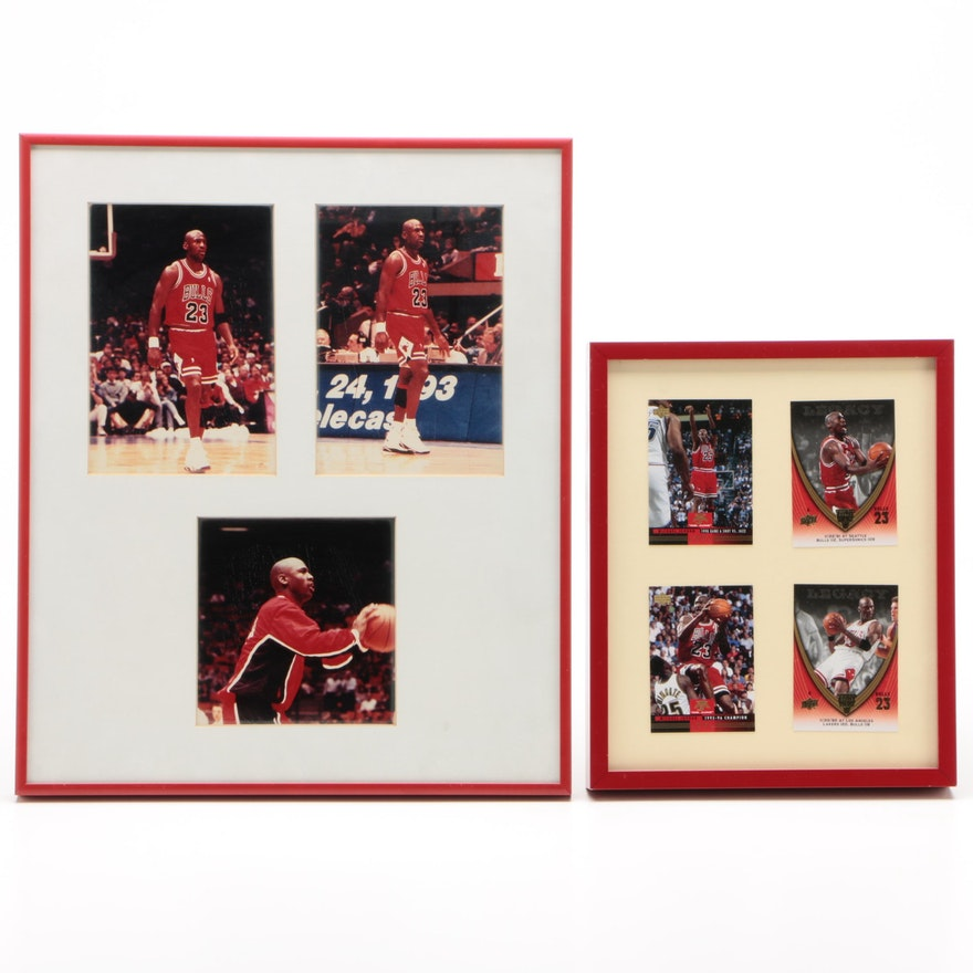 Michael Jordan Chicago Bulls Framed Basketball Cards and Photos, circa 1990s