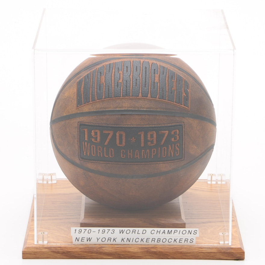 "1970-1973 New York Knicks ""World Champions"" Replica Basketball in Case"