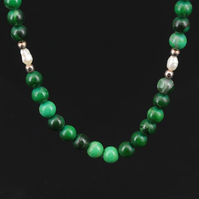 Malachite and Cultured Pearl Endless Necklace