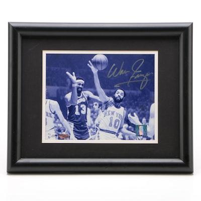 Walt Frazier Signed New York Knicks Action Framed Baseball Photo Print, Steiner
