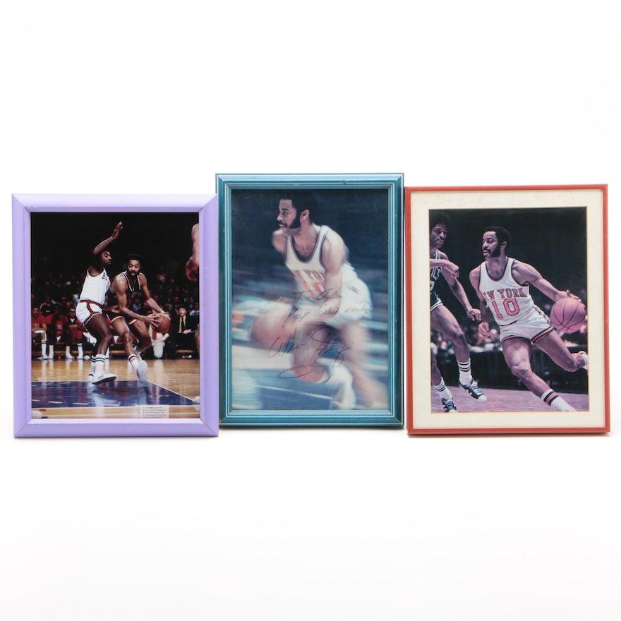 Walt Frazier New York Knicks Basketball Photo Prints, Two Autographed