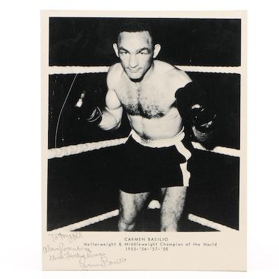 "Carmen Basilio Signed ""Champion of the World"" Boxing Black and White Print"
