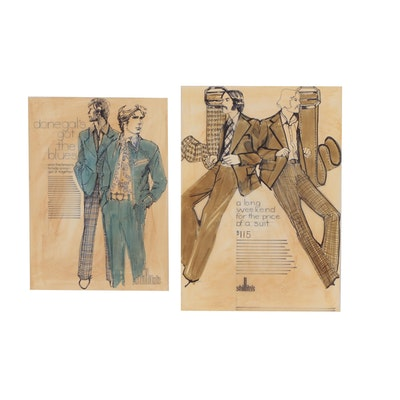 Margaret Voelker-Ferrier Preliminary Advertisement Illustrations for Shillito's