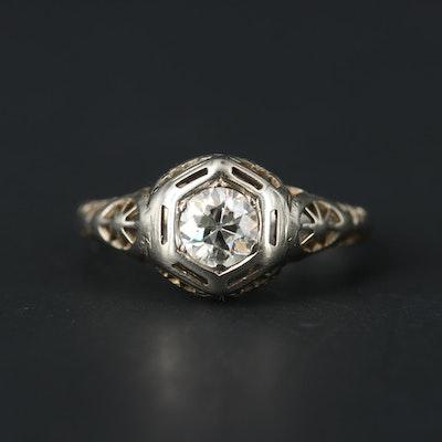 1930s 18K White Gold 0.40 CT Diamond Ring