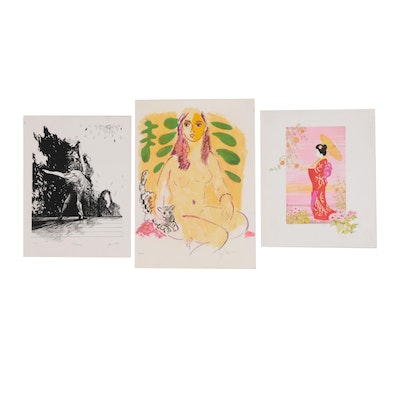 Lithographs of Female Figures, Late 20th Century