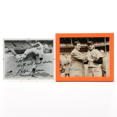 Ralph Branca and Bobby Thomson Signed Baseball Photo Prints