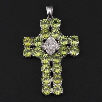 14K White Gold Peridot and Diamond Cross Pendant
