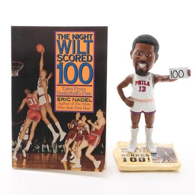 """Wilt Chamberlain """"100 Pt."""" Forever Bobblehead Doll with 1990 Eric Nadel Book"""