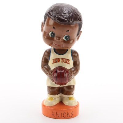 New York Knicks Afro-American NBA Bobblehead Doll Bank, Made in Japan, Vintage