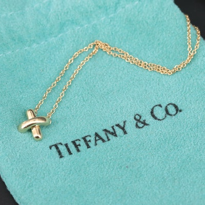 """Tiffany & Co. """"Signature X"""" 18K Yellow Gold Necklace"""