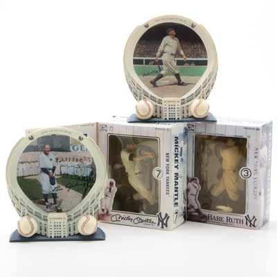 New York Yankees McFarland Statues and Plates Including Mantle, Ruth, and Gehrig
