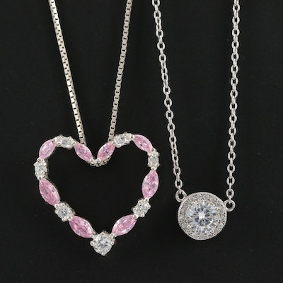 Sterling Silver Cubic Zirconia Necklaces Featuring Heart Motif