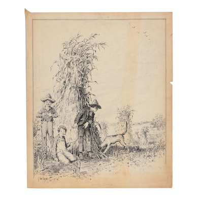 Raeburn Van Buren Ink Illustration of Children in Haystacks