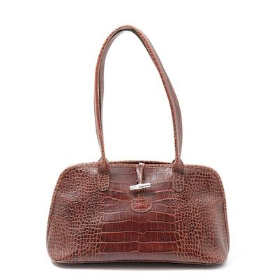 Longchamp Croc Embossed Chestnut Brown Leather Shoulder Bag