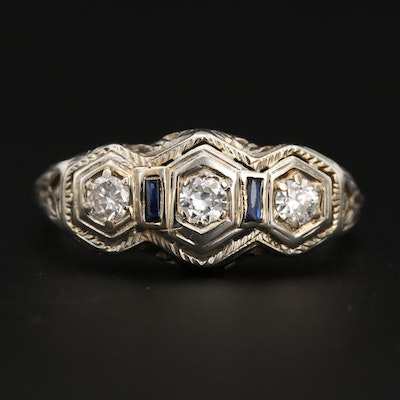 Art Deco 18K White Gold Diamond and Sapphire Ring