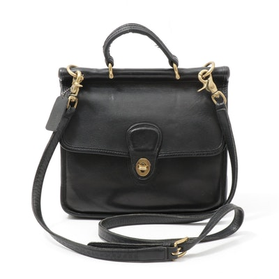 "Coach ""Willis"" Black Leather Front Flap Turnlock Crossbody Bag"