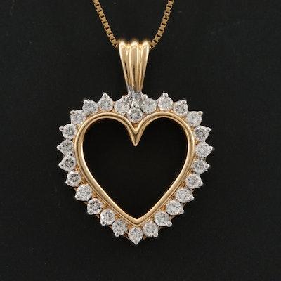 14K Yellow Gold Diamond Heart Pendant on 10K Yellow Gold Box Chain