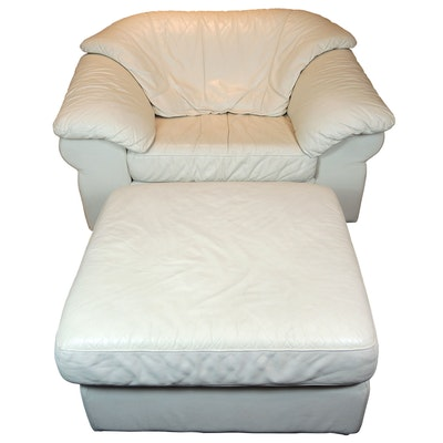 Leather Company, White Leather Armchair and Ottoman, Contemporary