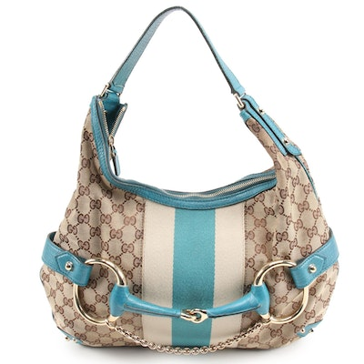 Gucci Horsebit Web Hobo Bag in GG Canvas and Teal Leather