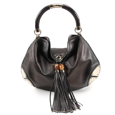Gucci Large Babouska Indy Top Handle Bag in Black Leather with Bamboo Tassels